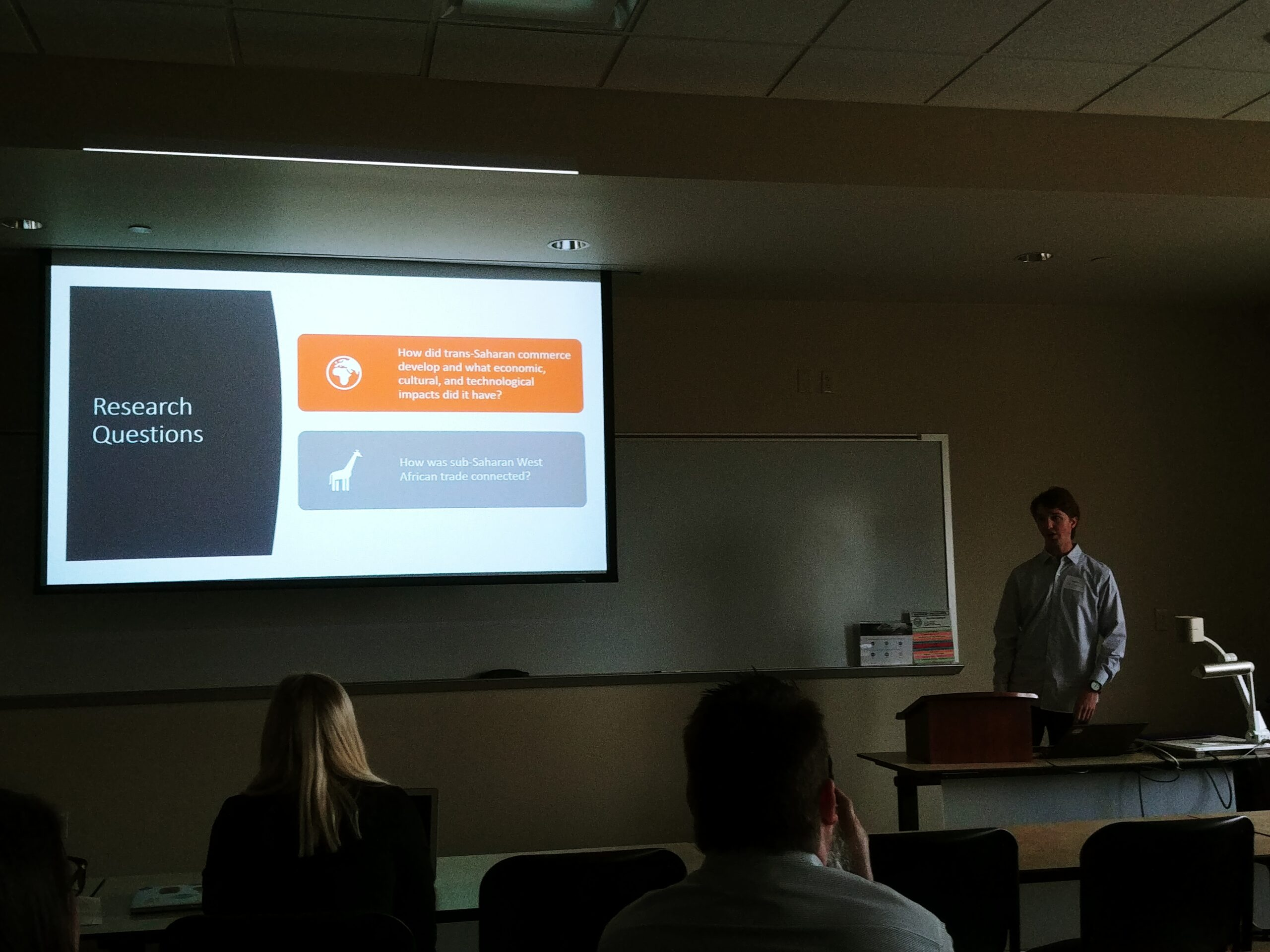 Ian Miller at Undergraduate Research Day, Spring 2019, presenting research.